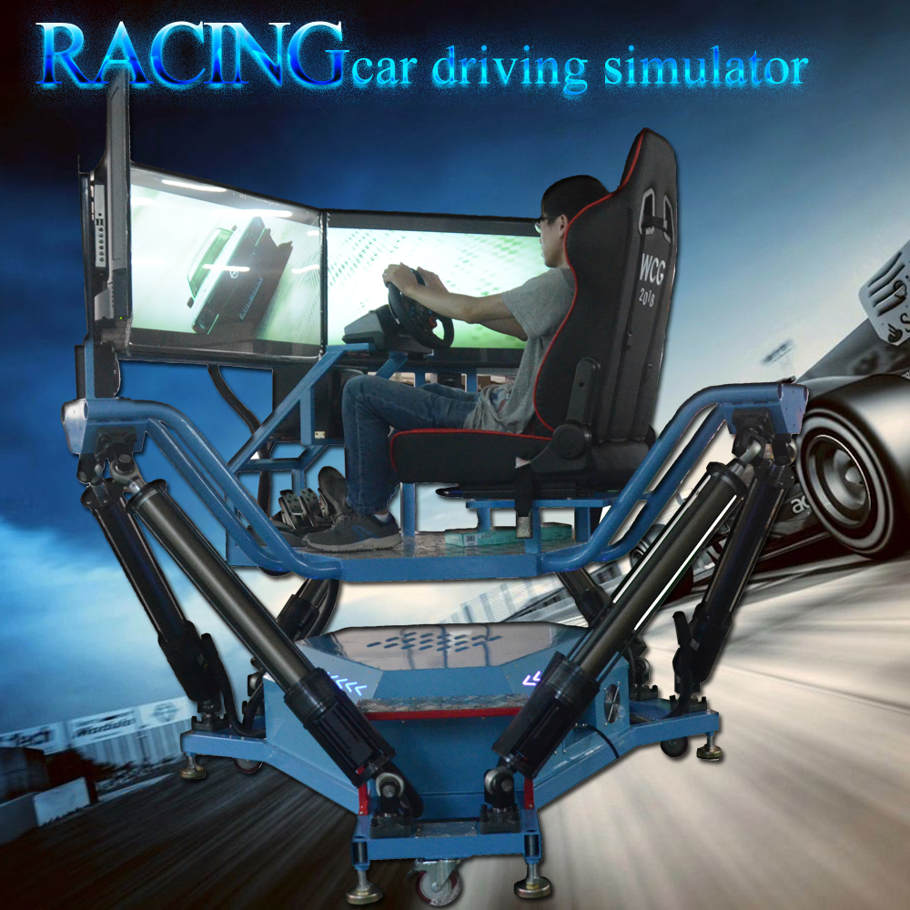 Christmas day promotion amusemen park simulator Six-axis-Dynamic-Car XD VR Racing car game machine driving simulator price