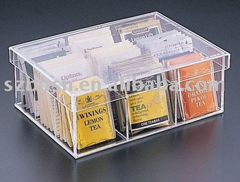 Acrylic Tea Bag Box Perspex Caddy Plexiglass Tray