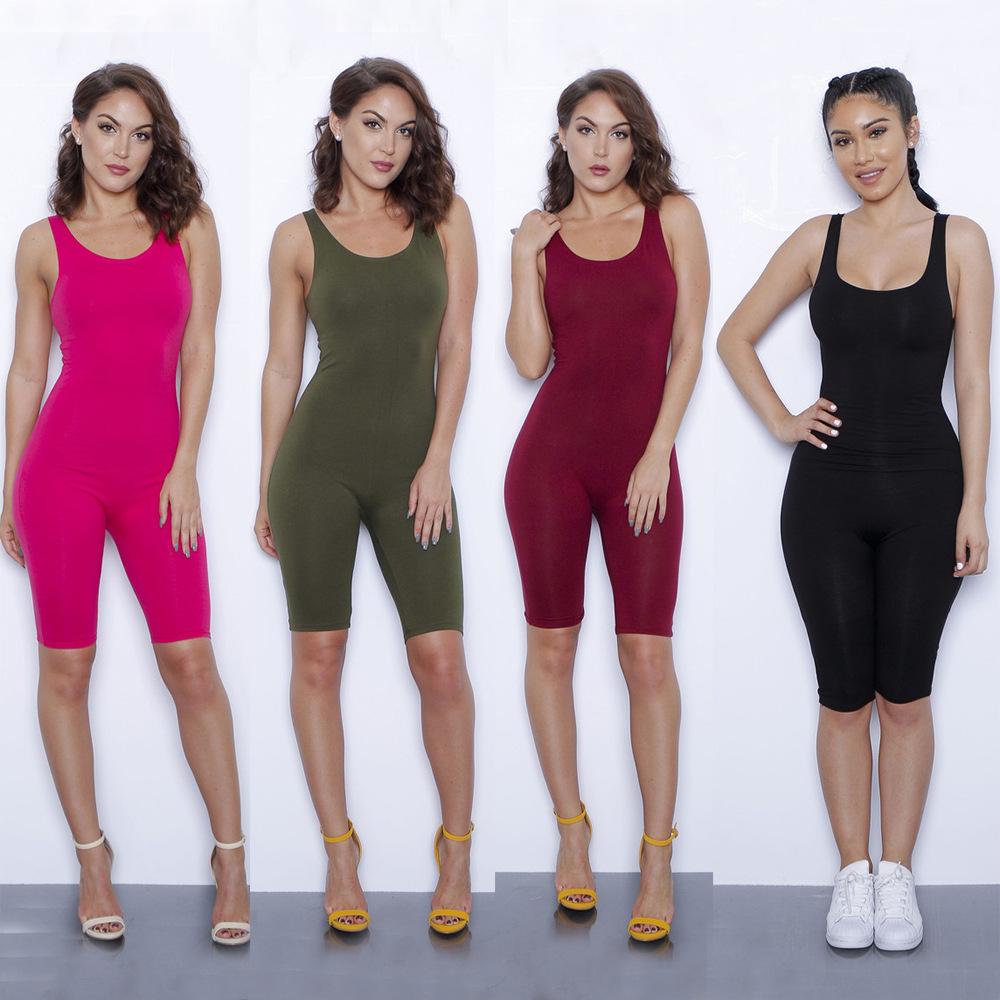 9801e23e6e 2019 Wholesale Sexy Sleeveless Woman Playsuit Solid Bodysuit ...