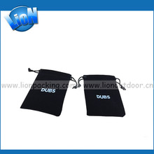 Customer logo Small Drawstring Fabric Pouch Deluxe Black Velvet Drawst Ring Jewelry Pouch Great Gift Bag
