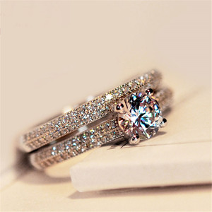 RHJ2705 Huilin Jewelry best quality 925 Sterling silver double Rings Wedding Rings