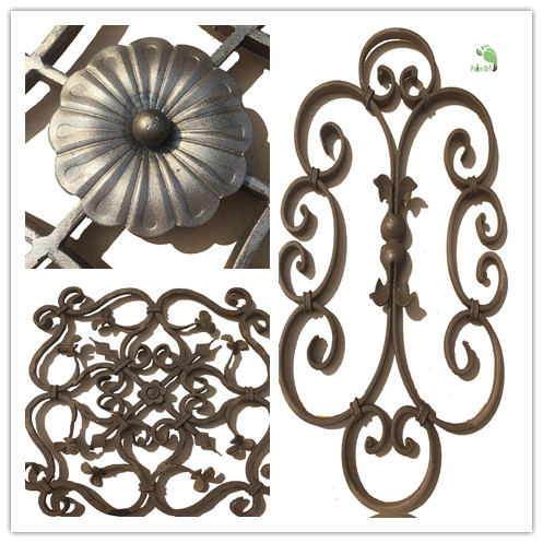 creative wrought iron grills and rosettes for fencing gates and stairs in lower prices
