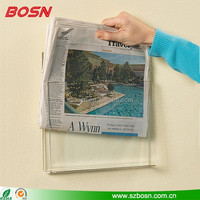 Wholesale wall mounted clear Acrylic A4 paper Holder perspex newspaper Display rack