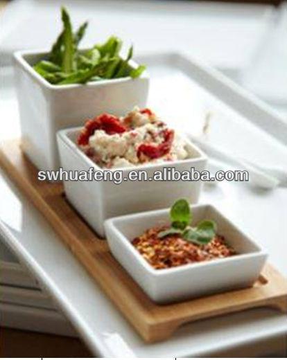 2016 Bamboo Rectangular Sushi Plate With Ceramic Bowl