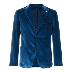 Blue cotton blended Giacca velvet suit jacket men suit blazer