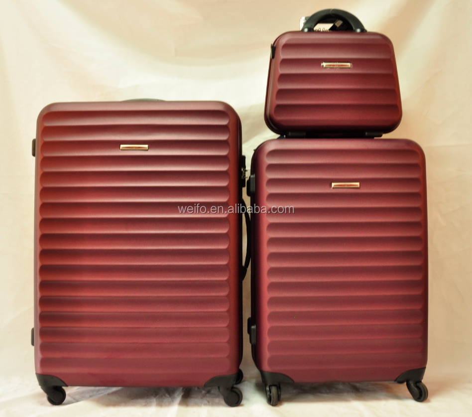 abs material trolley luggage and cosmetic bag set