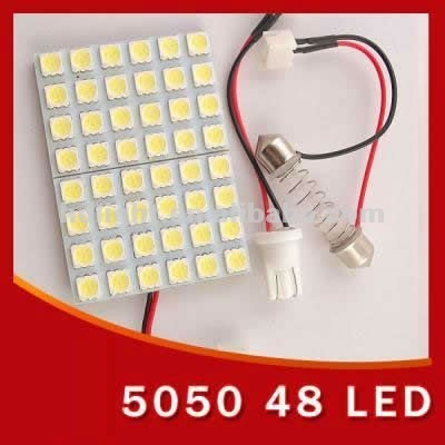Car Interior 48 5050 SMD LED Light Lamp Panel T10 Dome BA9S Adapter