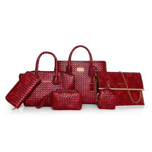 new model pu leather woven pattern Metal logo 6 piece set tote bag hand bag handbag with custom color