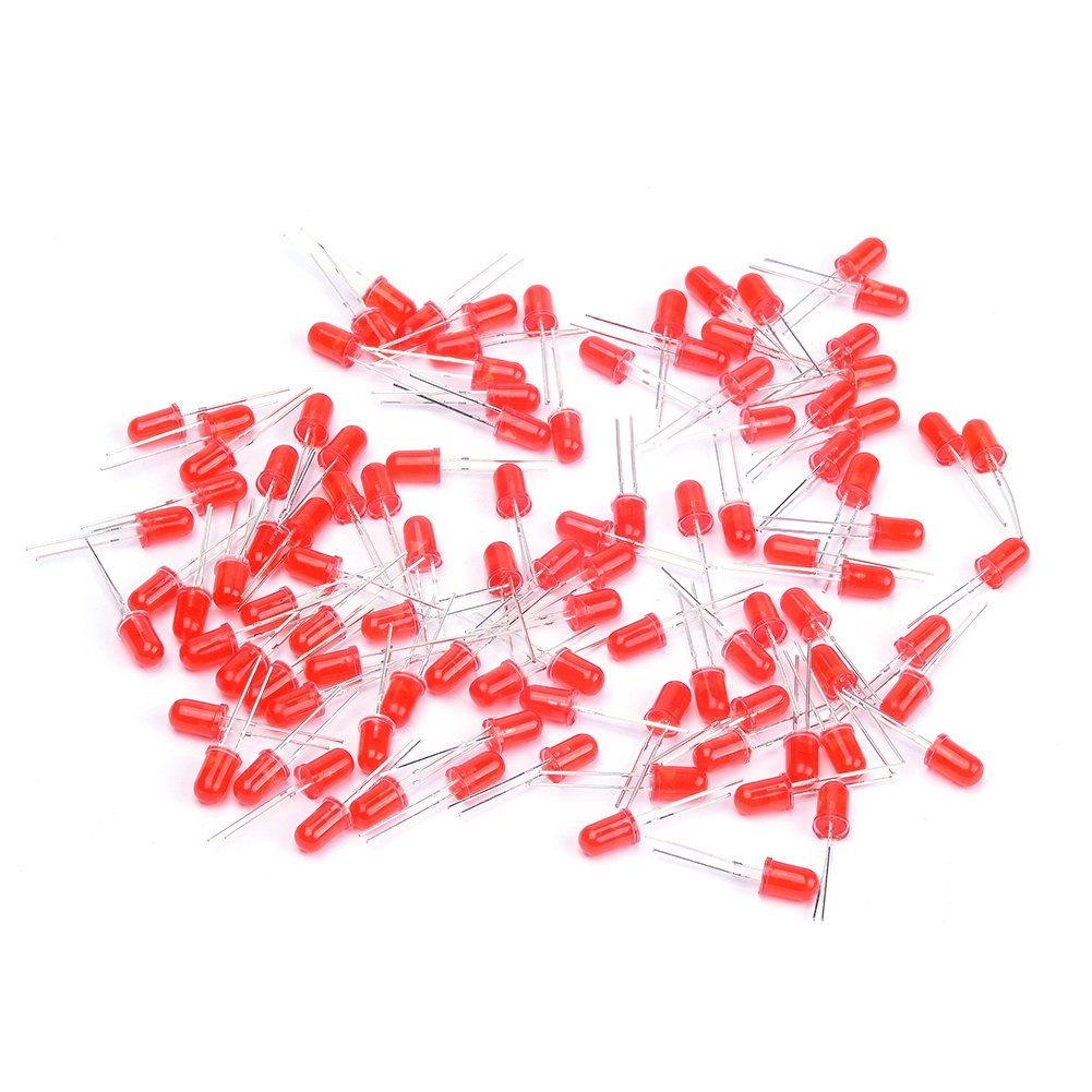 Cylewet 100Pcs 5mm LED Light Emitting Diode Highlight Red for Arduino (Pack of 100) CYT1039