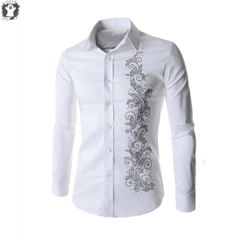 f04da95a4ae Get Quotations · New Autumn Chinese style Embroidery Shirt For Men Fashion Mens  Dress Shirt Long Sleeve Men Shirts