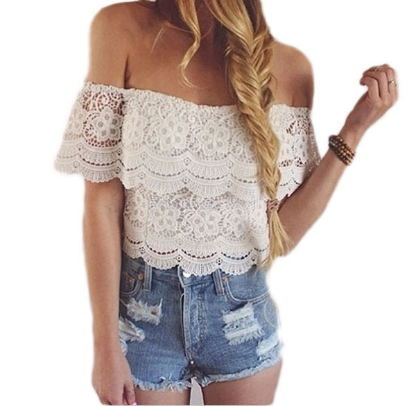 8095a12ab4034 Get Quotations · 2015 New Summer Style Sexy Off the Shoulder Lace Cropped  Tops For Women T Shirt Short