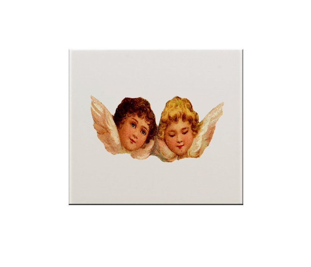 """Two Angels Open And Close Eyes 6"""" x 6"""" Ceramic Tile Backsplash Accent Mural"""