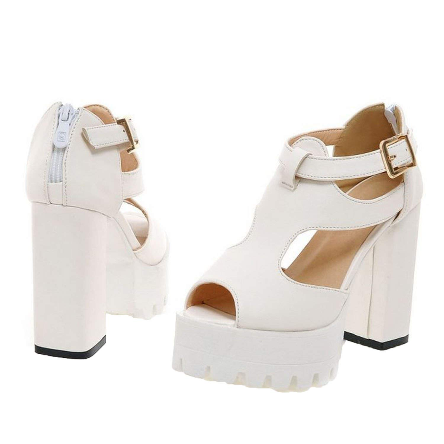 Sky-Pegasus 2018 Women peep Toe high Heel Sandals Buckle Party Sexy Platform Fashion Heels Sandal Size 32-43,4,4