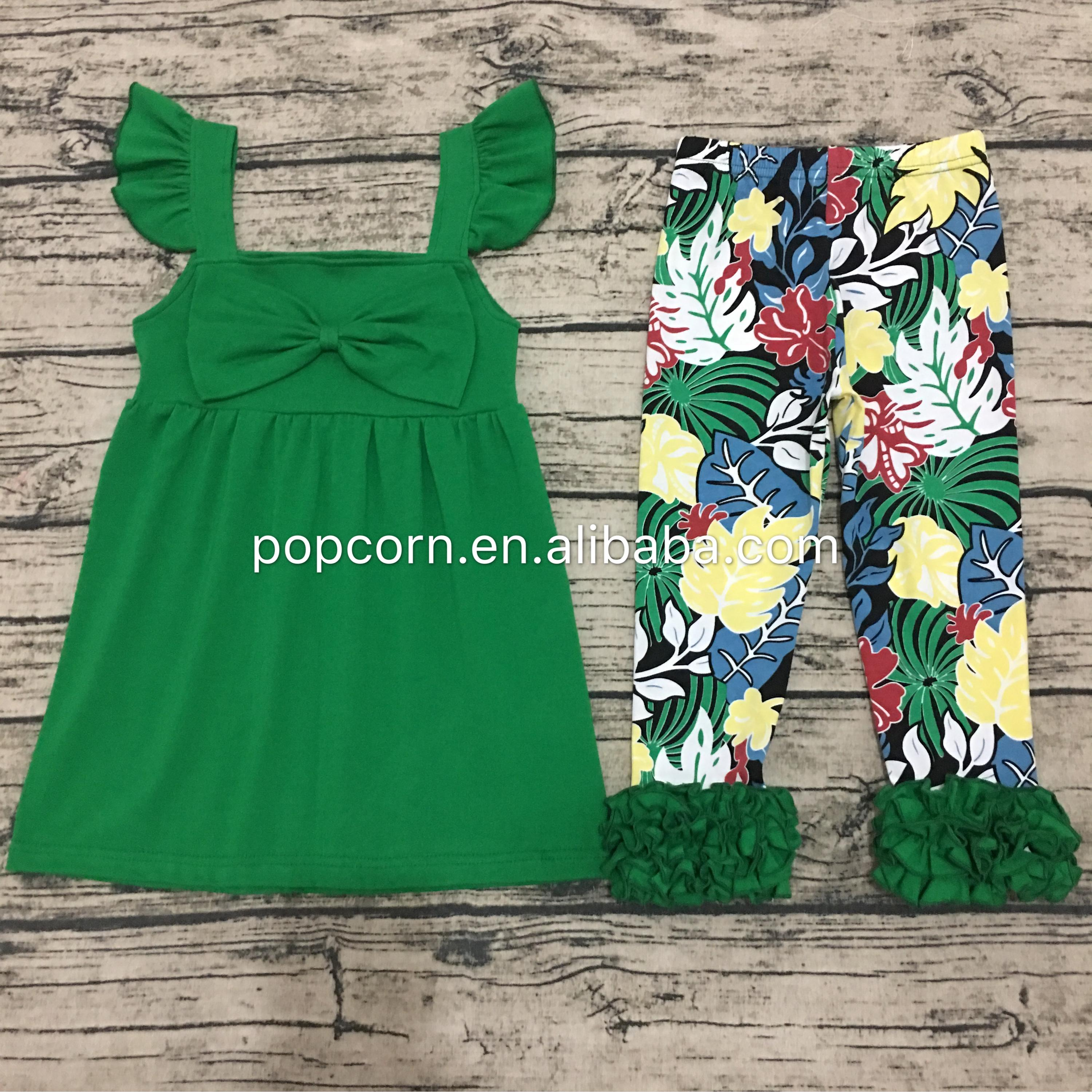 Ruffle Baby Clothes Wholesale Boutique Childrens Solid Color Ruffle