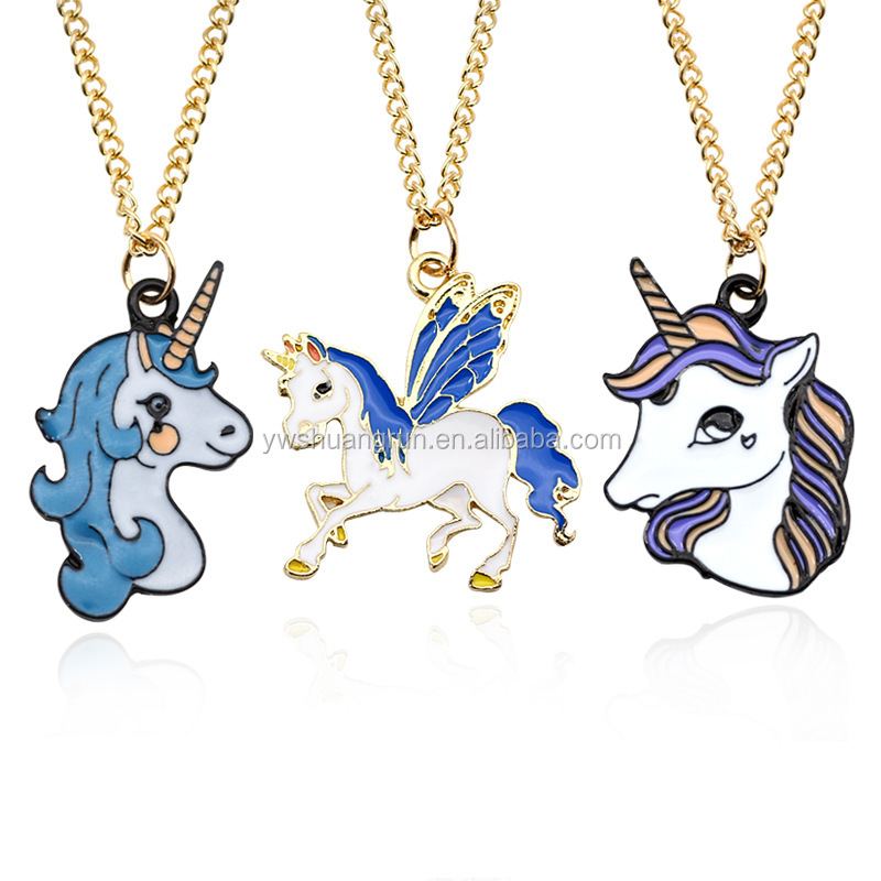 Fashion unicorn necklaces wholesale multicolor enamel pendant necklace