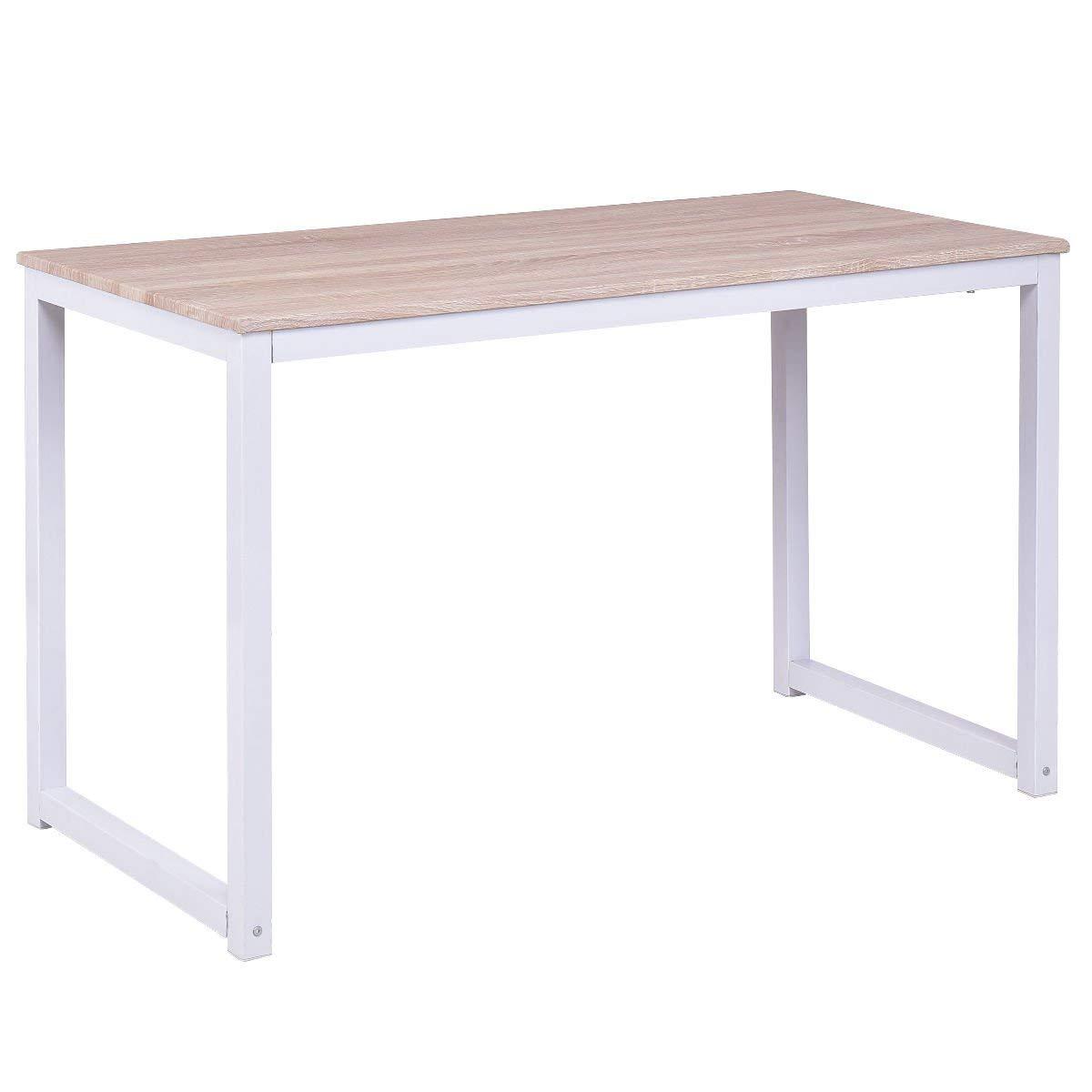 "GHP 47.2""x23.6""29.5"" MDF & Powder Coated Steel Home Office Computer Desk Workstation"