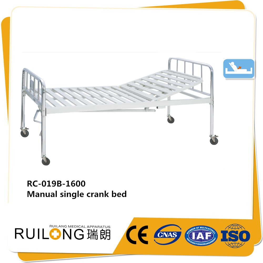 RC-019 simple one crank nursing medical bed with abs bedhead