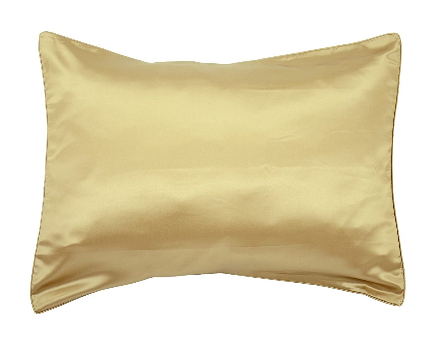 Empress Silk-Pure Mulberry Silk Charmeuse Pillowcase-19 Momme Weight/Light Gold/size Standard