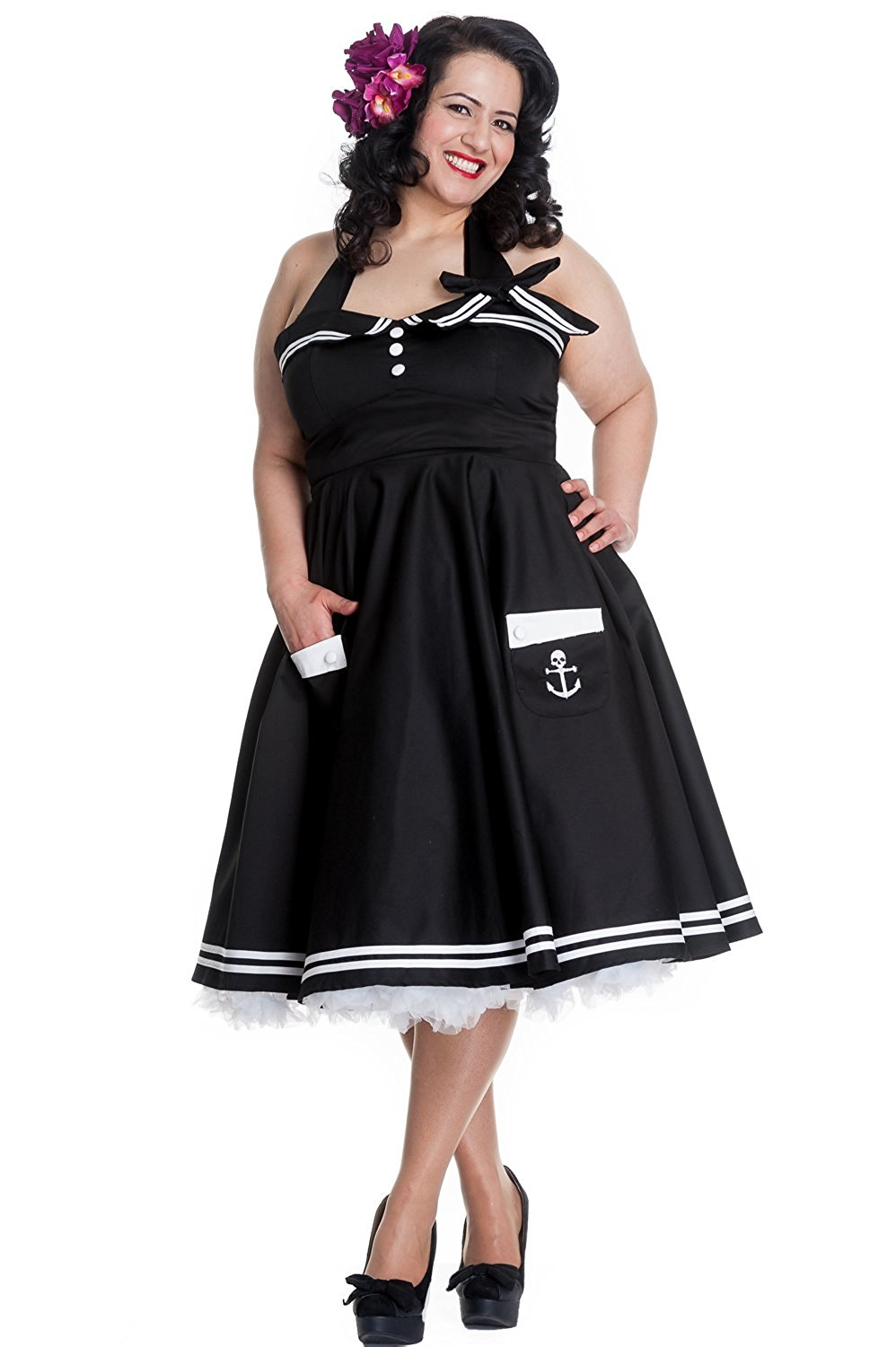 810d715ca Get Quotations · Hell Bunny Plus Size 60 s Motley Pinup Vintage Halter  Sailor Black Swing Dress