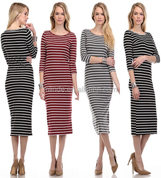 Wholesale Custom Bulk Buy Online Store 3/4 Sleeve Midi Stripe Dress Apparel Plus Size Woman Clothing