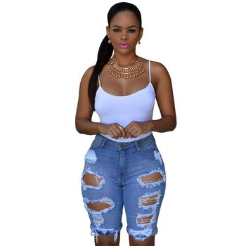 37005760ff New Women Blue Denim Bermuda Destroyed Shorts Jeans - Buy Women ...