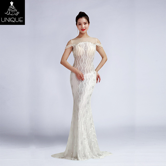China White Beaded Evening Gown Wholesale 🇨🇳 - Alibaba