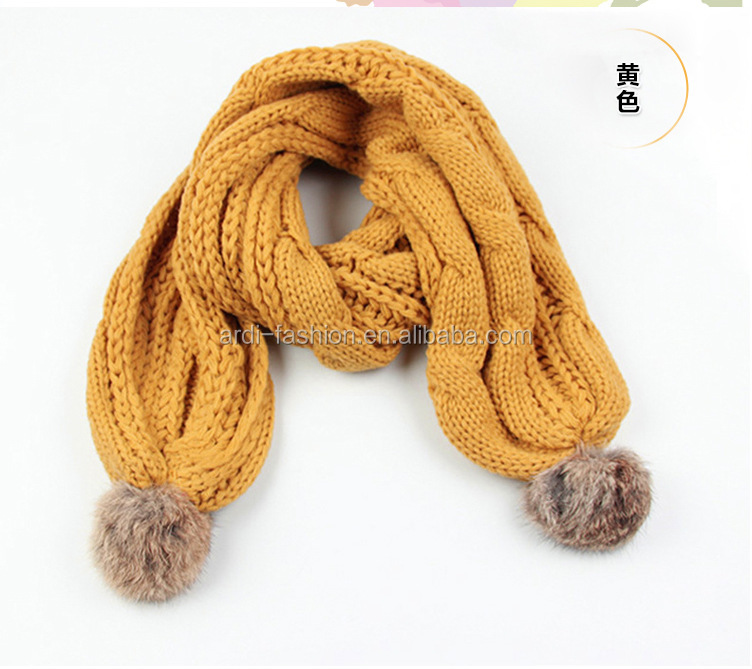 2017 Fancy Cute Cable Knitting Pattern Baby Kids Knitted Pompom