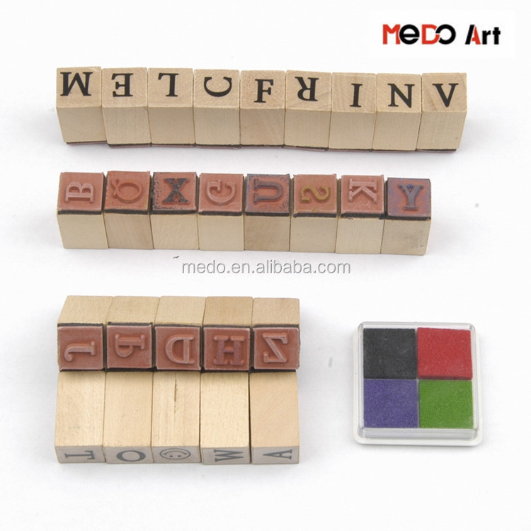 27pcs Kids Mini Alphabet Rubber Stamp Set with 4 Colors Ink Pad