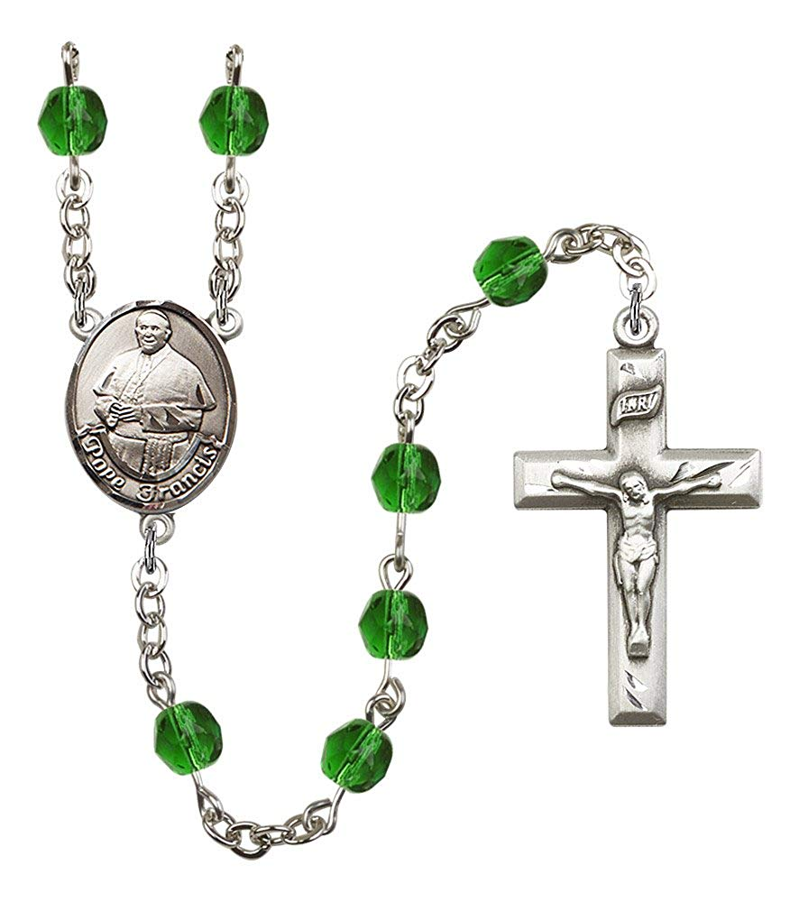 Silver Finish Pope Francis Rosary with 6mm Emerald Color Fire Polished Beads, Pope Francis Center, and 1 3/8 x 3/4 inch Crucifix, Gift Boxed
