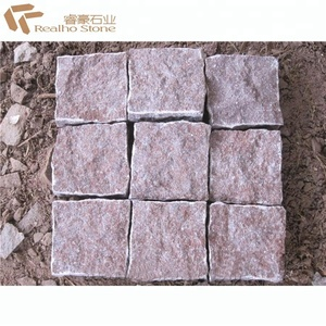 Natural split red porphyry paving stone China red shouning porphyry cube stone cobble stone