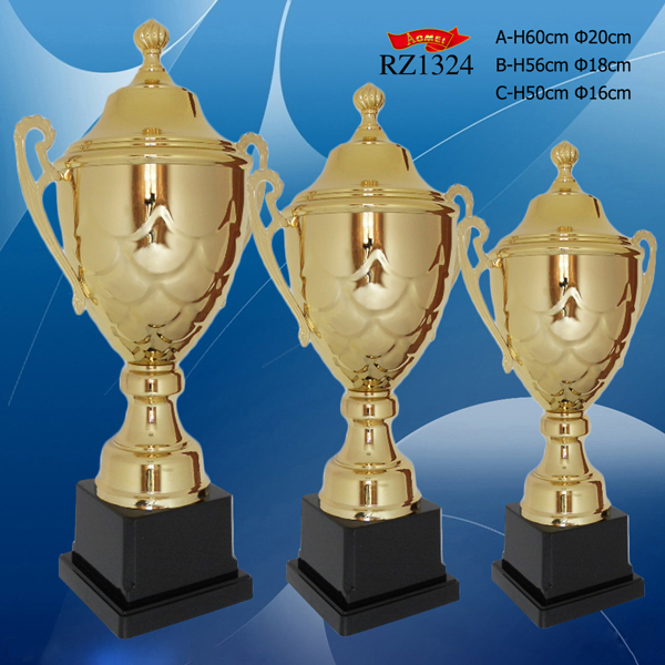 Custom Silver/Gold/Bronze Awards Winners Metal Trophy with Laser Logo