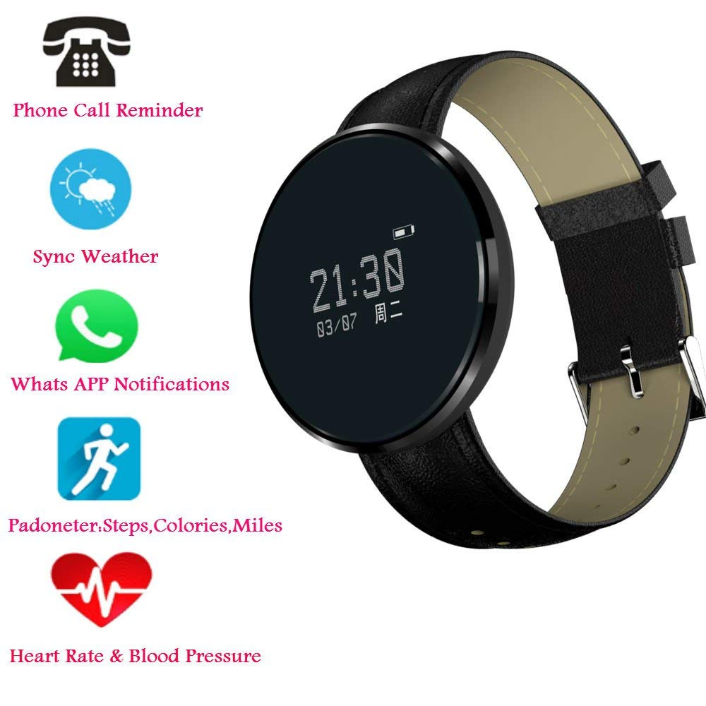 Hangang Bluetooth Smart Bracelet, Heart Rate / Blood Pressure / Blood Oxygen Monitoring ,Waterproof Smart Watch , Fitness Tracker Pedometer Waterproof Watch for Android and iOS (black-Skin strap)