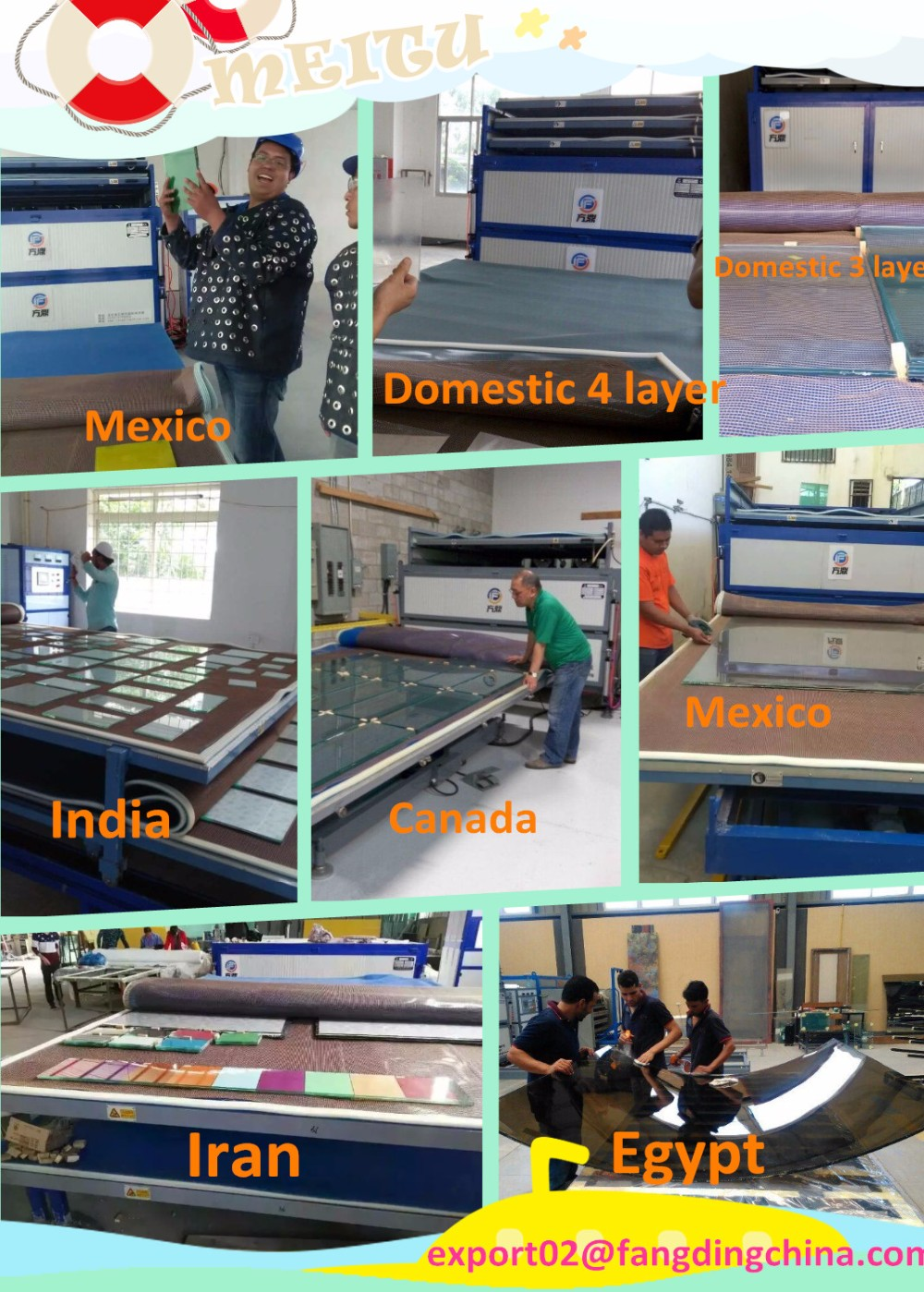 FANGDING EVA glass laminating machine for architectural laminated glass