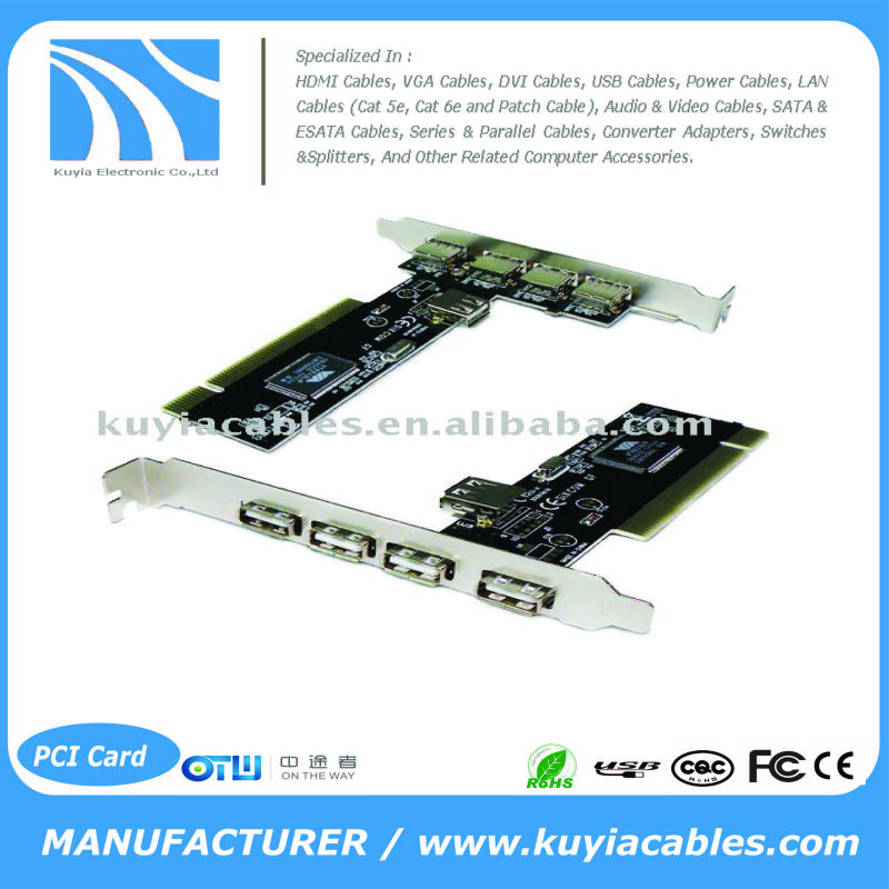 Extended USB 2.0 PCI Adapter Card for Desktop