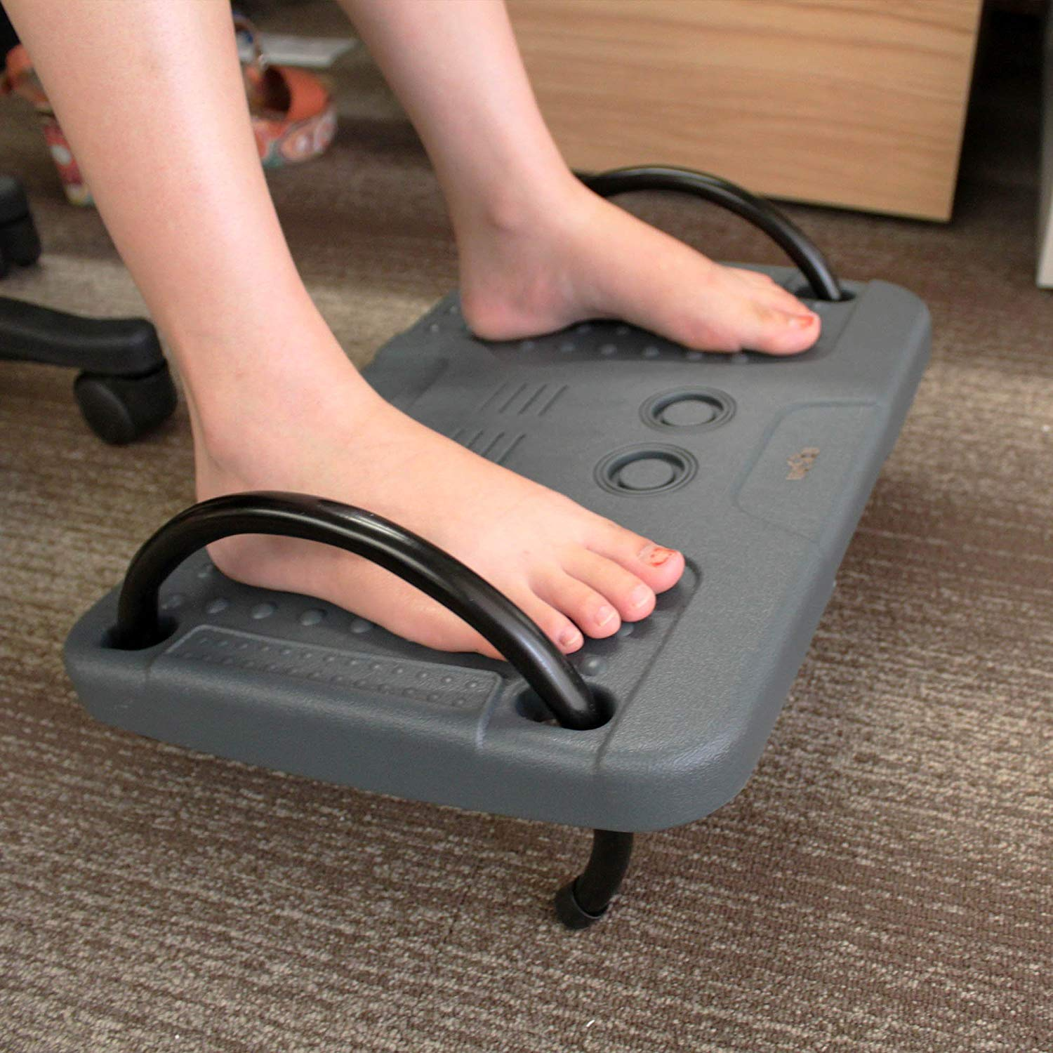 OMAX Ergonomic Adjustable Height Footrest New Pebbles Therapy Technique Adjustable Angle Footrest