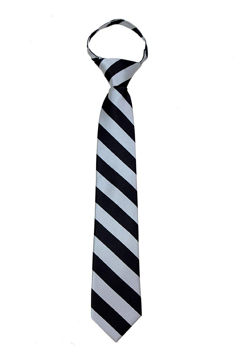 Boys Zipper Repp Stripe College Printed Necktie Ties - Many Colors Available