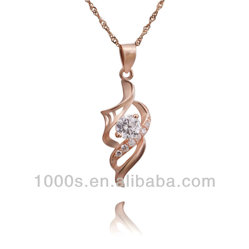 925 sliver pendant withrose gold plating +CZ, fashion pendant