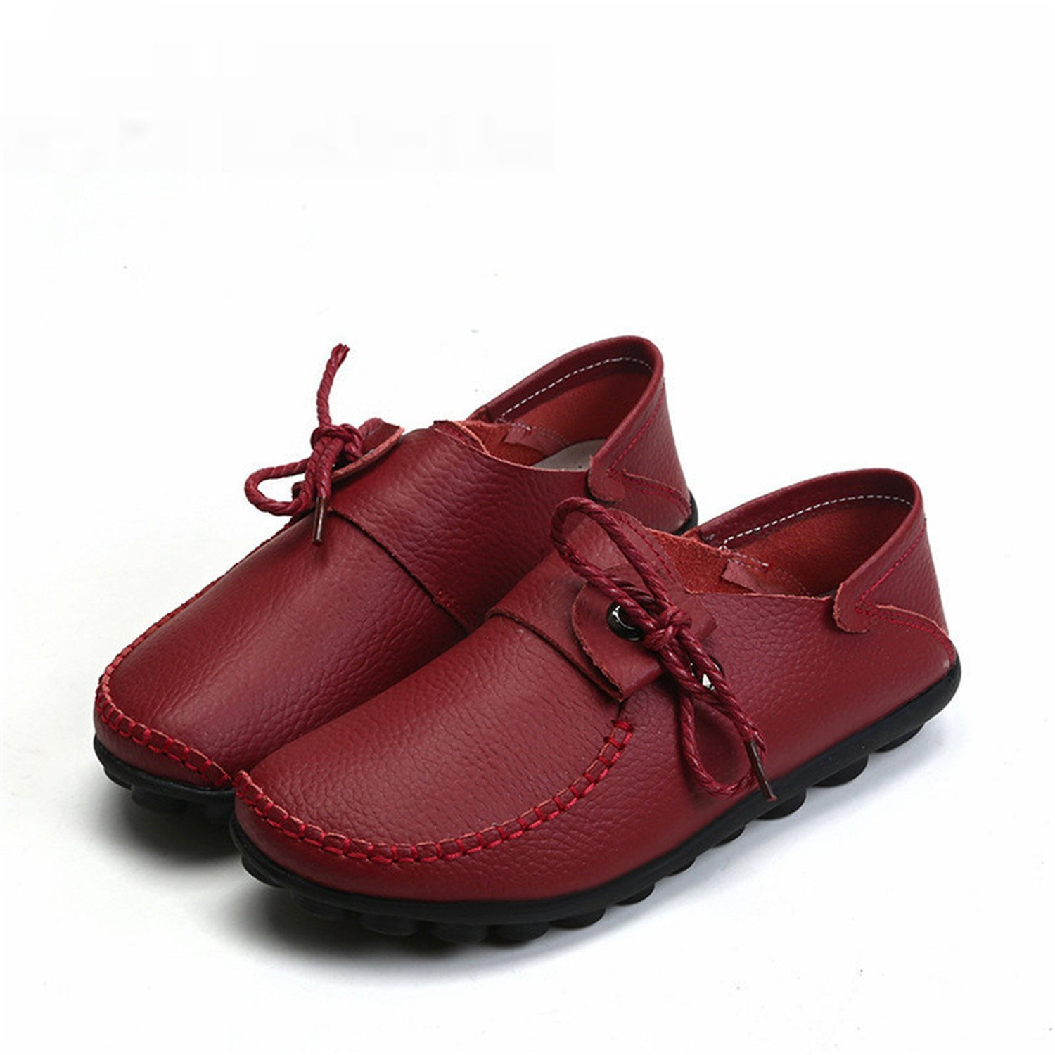 Feilongzaitianba Cow Leather Women's Casual Shoes Moccasins Female Flats Shoe Lace-Up Woman Loafers Driving Shoe Size 35-43