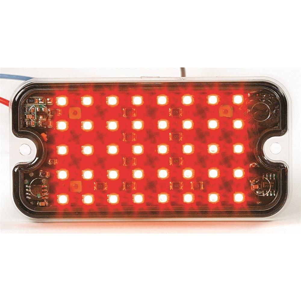 "AW Direct NVL141R Ultra-Slim Mini LED Flashing Warning Lights, Rectangular 3-13/16""L x 1-15/16""H Red LED, Clear Lens"