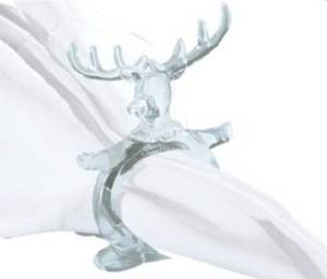 "C&F Home Set of 4 Pcs, 2"" Clear Acrylic Christmas Napkin Ring, Reindeer"