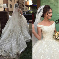custom make wedding dresses ball gown hand made flowers lace appliques court train bridal dresses