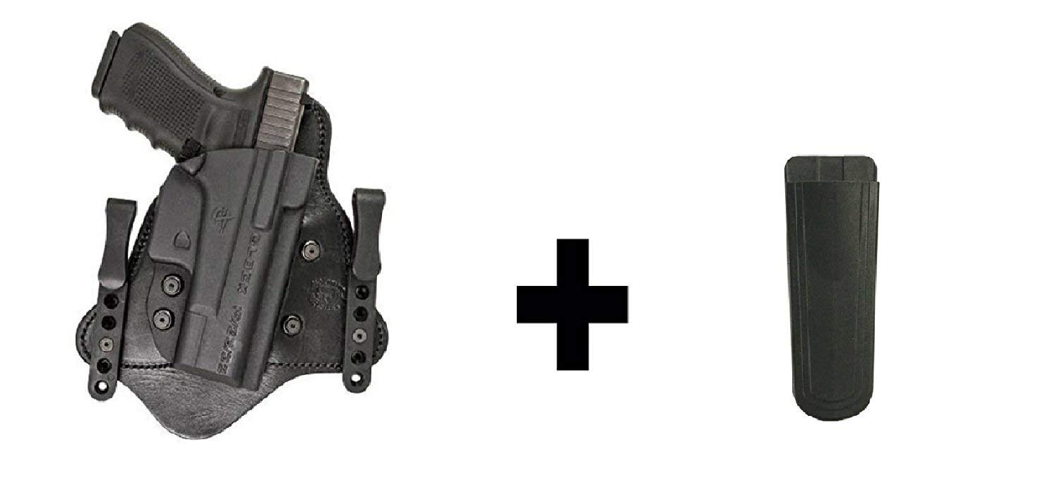 "Ultimate Arms Gear Comp-Tac MTAC KIMBER MICRO 9 IWB Inside The Waistband Kydex & Leather Hybrid Concealed Carry Gun Holster, Right + 1.50"" Standard Belt Clips Magazine Holder"