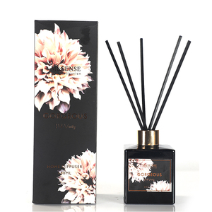 M&SENSE Gorgeous Collection Scented Black Glass Bottle Aroma Reed Diffuser Container