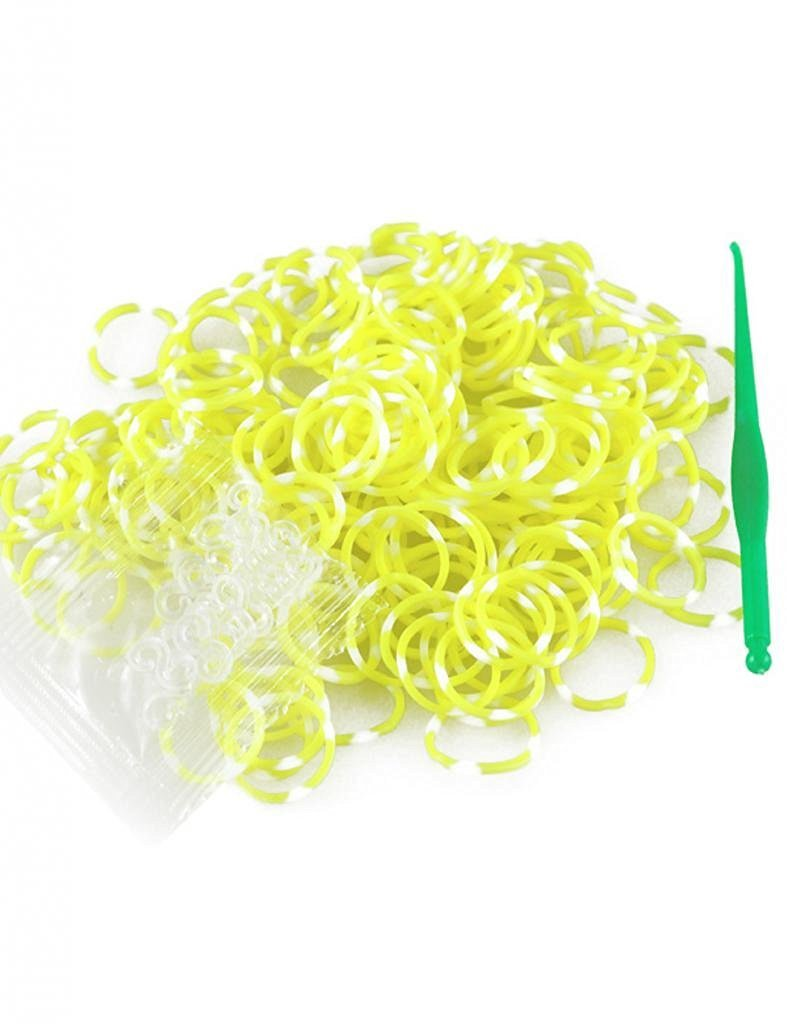 185-200pcs Polka Dot Band Rubber Loom Rainbow Color +S Clps 15pcs+Loom Tool 1 Piece Rubber Color Yellow