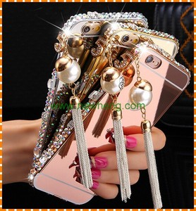 New Product Crystal Mirror Luxury Bling Diamond frame Phone Protective Back Cover case For iPhone 6