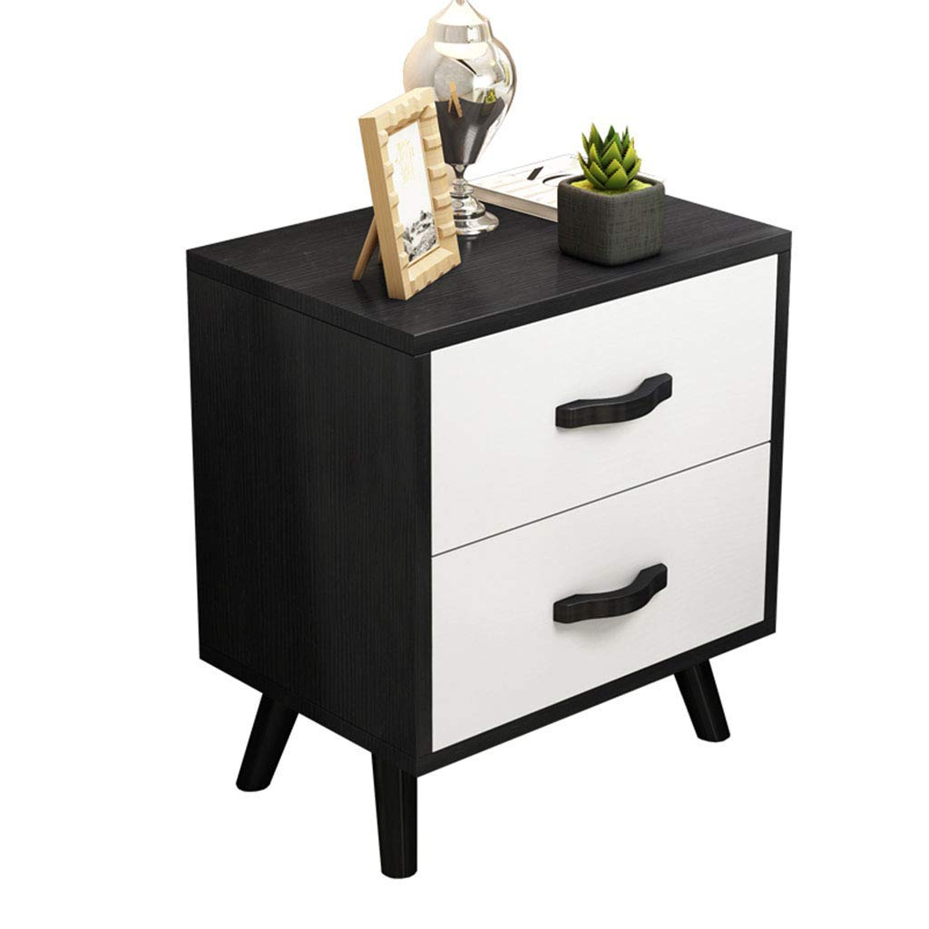 Bedside table Dressing Table Solid Wood Painted Storage Cabinet Bedside Cabinet Simple Solid Wood Storage Cabinet (Color : Black and White, Size : 355058cm)