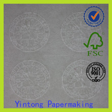 banknote paper 75% cotton 25% linen watermark paper with silver thread
