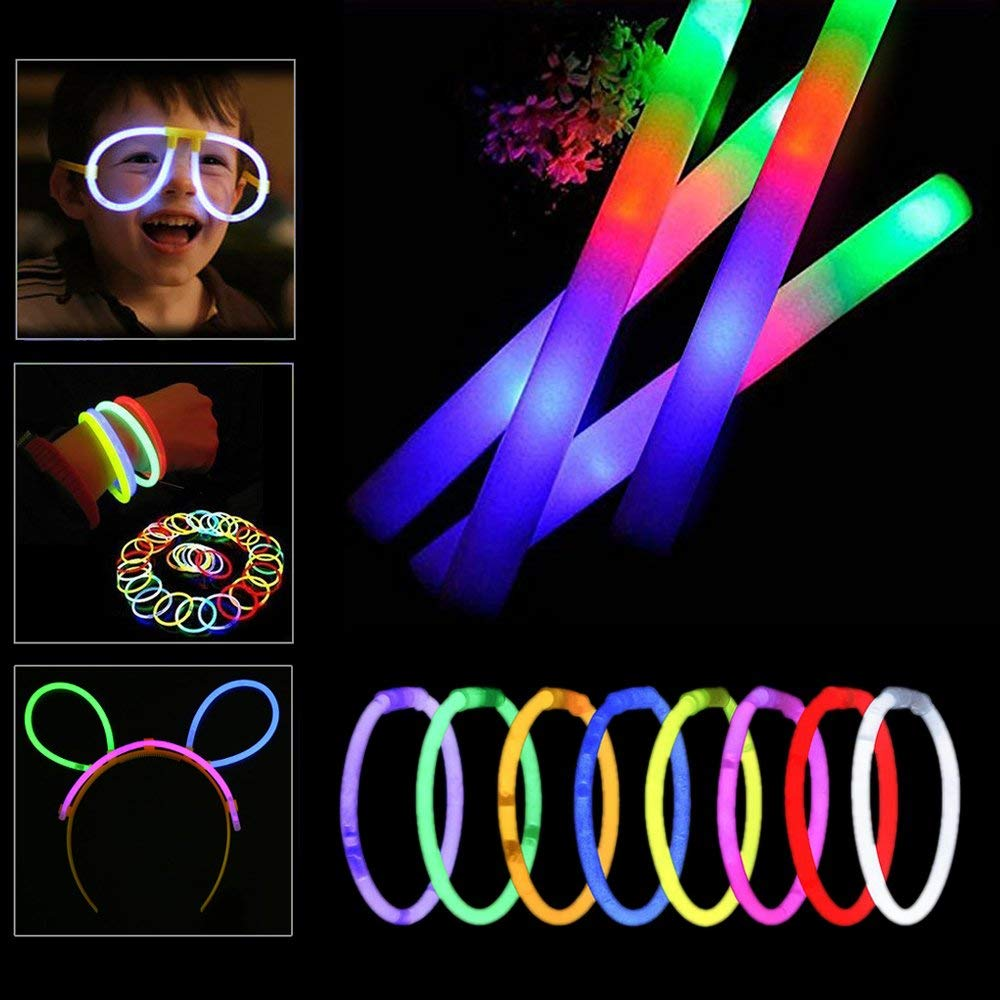 Seerootoys 12 Foam Sticks and 30 Light Up Glowsticks, 42 PCS Glow Party Supplies Set, Multicolor Changing 3 Modes Flashing Kids Glow Wand for Party, Birthday, Weddings