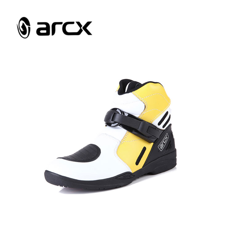 ARCX Yellow Short Ankle Motorbike Boots Waterproof Motorcycle Racing Sports Leather Shoes, Red/yellow/white/black/orange