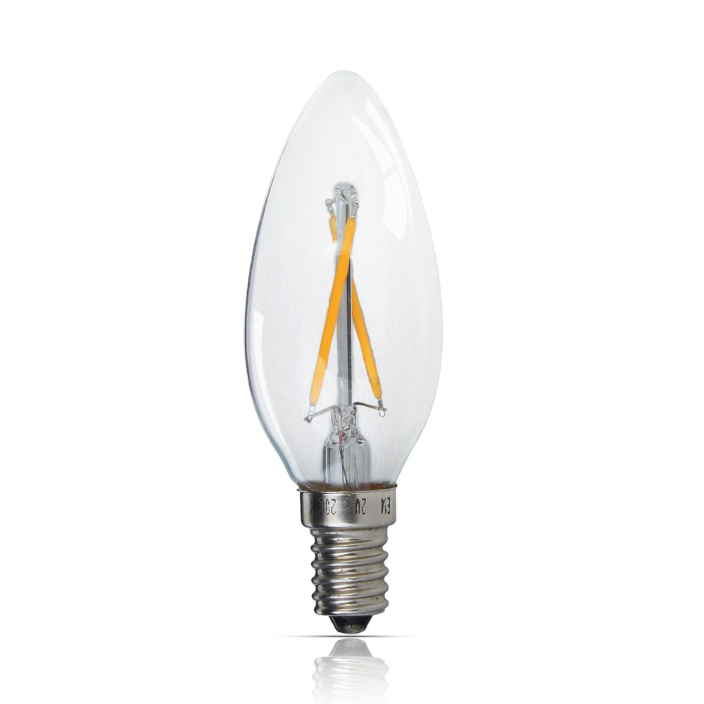 Led Filament bulb Vintage Edison C35 E14 2W 4W AC220V / 110V Clear Glass shell 360 Degree COB lamp LED candle light bulbs